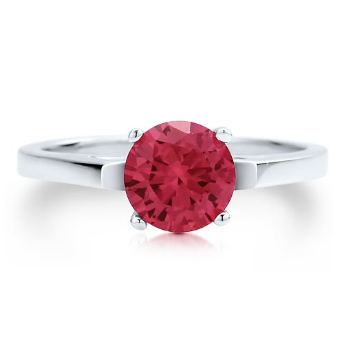 Sterling Silver 925 Round Cut Ruby Cubic Zirconia CZ Solitaire Ring - Women's Engagement Wedding Ring ( BERRICLE ring ) รูปที่ 1