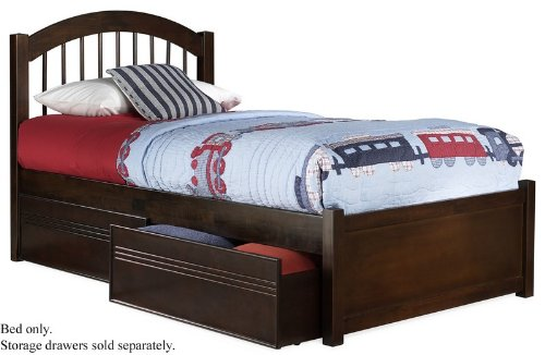 Twin Size Windsor Style Platform Bed with Flat Panel Footboard Antique Walnut Finish  รูปที่ 1