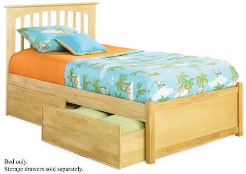 Twin Size Platform Bed with Flat Panel Footboard Natural Maple Finish  รูปที่ 1