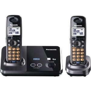Discount Panasonic KX-TG9322T 2-Line DECT 6.0 Cordless Phone, Metallic Black, 2 Handsets  รูปที่ 1