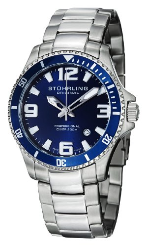 Stuhrling Original Men's 395.33U16 Aquadiver Regatta Champion Professional Diver Swiss Quartz Date Blue Bezel Watch รูปที่ 1