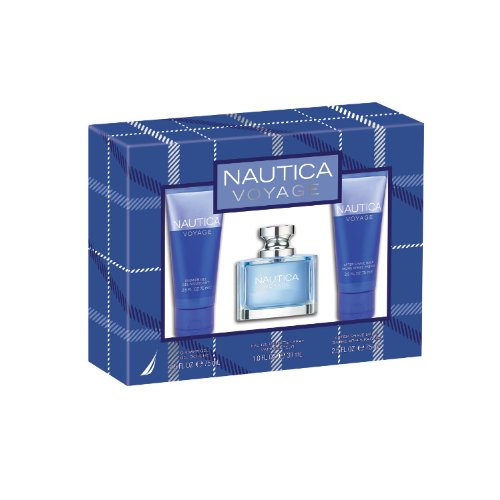 Nautica Voyage 3 Piece Gift Set (Eau de Toilette Spray, Shower Gel, After Shave Balm) ( Men's Fragance Set) รูปที่ 1