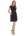 Taylor Dresses Women's Cap Sleeve Fit and Flare Dress with Mesh ( Taylor Dresses Casual Dress )