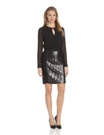 DKNYC Women's Long Sleeve Dress with Ponte Shirt and Herringbone Sequin Front ( DKNYC Night Out dress )