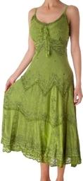 Sakkas Stonewashed Rayon Embroidered Adjustable Spaghetti Straps Long Dress ( Sakkas Casual Dress )