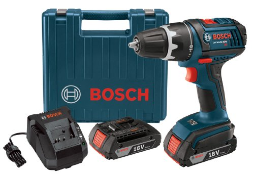 Bosch DDS181-02 18-Volt Lithium-Ion 1/2-Inch Compact Tough Drill/Driver Kit with 2 High Capacity Batteries, Charger and Case ( Pistol Grip Drills ) รูปที่ 1