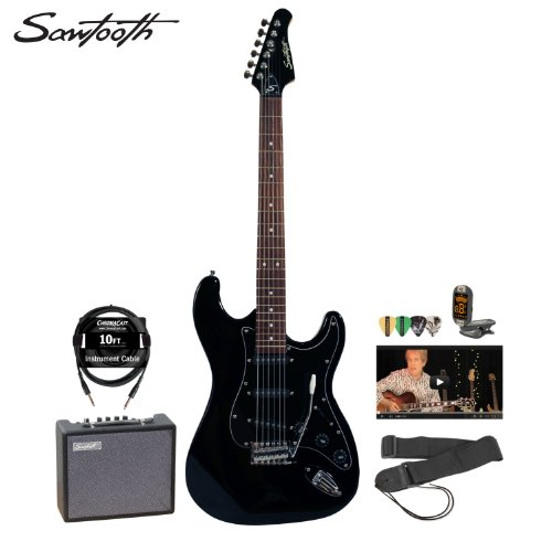 Sawtooth Black Electric Guitar w/ Black Pickguard - Includes: Accessories, 10-Watt Amp & Online Lesson ( Sawtooth guitar Kits ) ) รูปที่ 1