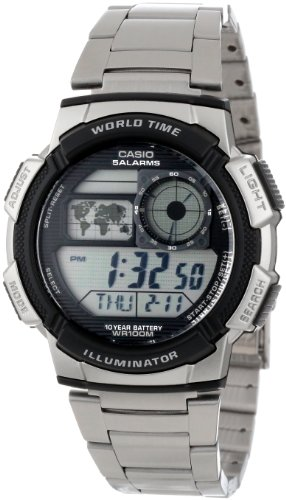 Casio Men's AE1000WD-1AVCF World Time Silver-Tone Bracelet and Digital Sport Watch รูปที่ 1
