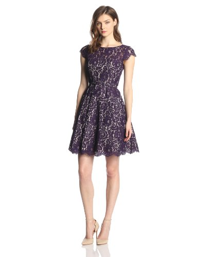 Eliza J Women's Cap Sleeve Lace Fit and Flare Party Dress ( Eliza J Night Out dress ) รูปที่ 1