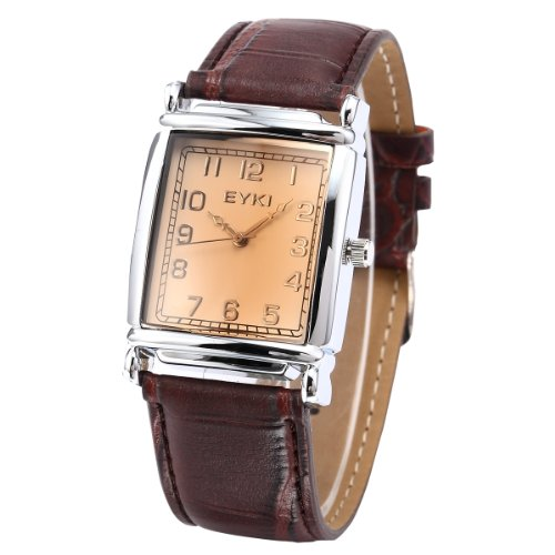 EYKI Classic Rectangle Dial Brown Leather Band Men's Couple Dress Wrist Watch EKI059 รูปที่ 1