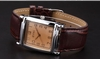รูปย่อ EYKI Classic Rectangle Dial Brown Leather Band Men's Couple Dress Wrist Watch EKI059 รูปที่3