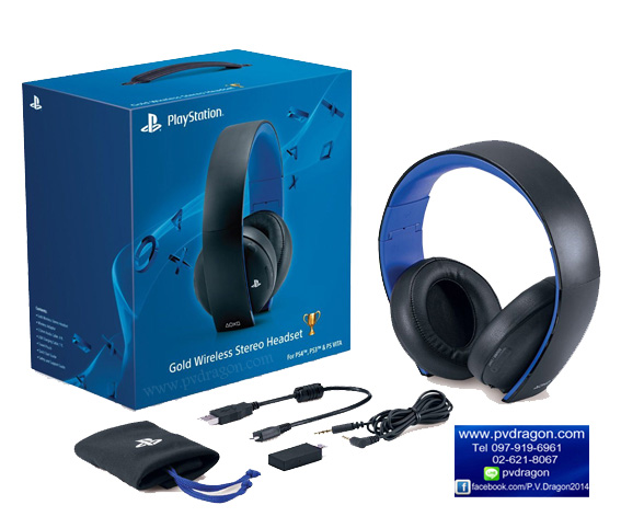 PlayStation Gold Wireless Stereo Headset for PlayStation 3 and PlayStation 4 (Black Color) รูปที่ 1