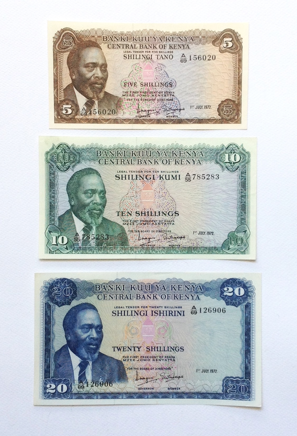 ธนบัตรเก่า ประเทศ Kenya ปี 1972 สภาพใหม่ ไม่ผ่านการใช้ รูปที่ 1